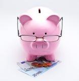 Τράπεζα Piggy με τα γυαλιά στα ευρώ Στοκ φωτογραφία με δικαίωμα ελεύθερης χρήσης