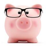Τράπεζα Piggy με τα γυαλιά στο άσπρο υπόβαθρο Στοκ Εικόνα