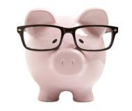Τράπεζα Piggy με τα γυαλιά Στοκ εικόνες με δικαίωμα ελεύθερης χρήσης