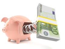 Τράπεζα Piggy με τα ευρο- χρήματα διανυσματική απεικόνιση