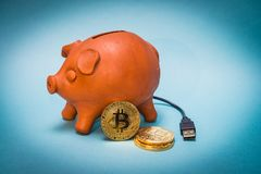 Τράπεζα Piggy με τα νομίσματα bitcoin και τη σύνδεση USB Στοκ Εικόνα