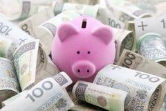 Τράπεζα Piggy με τα χρήματα στιλβωτικής ουσίας Στοκ φωτογραφίες με δικαίωμα ελεύθερης χρήσης