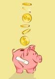 Τράπεζα Piggy με τη ρωγμή και τα δολάρια, διανυσματική απεικόνιση, ύφος κινούμενων σχεδίων ελεύθερη απεικόνιση δικαιώματος