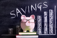 Τράπεζα Piggy με το διάγραμμα αποταμίευσης Στοκ Εικόνα