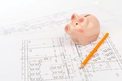 Τράπεζα Piggy με το μολύβι Στοκ Εικόνες