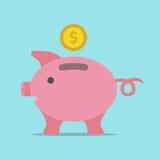 Τράπεζα Piggy με το νόμισμα Στοκ Φωτογραφίες