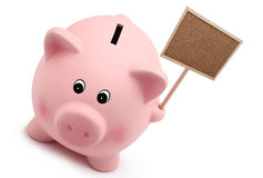 Τράπεζα Piggy με το σημάδι που απομονώνεται στο άσπρο υπόβαθρο Στοκ εικόνα με δικαίωμα ελεύθερης χρήσης