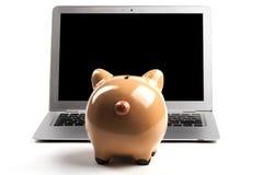 Τράπεζα Piggy με το lap-top Στοκ Εικόνα
