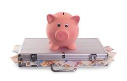 Τράπεζα Piggy πάνω από την περίπτωση μετάλλων που γεμίζουν με τα χρήματα Στοκ Εικόνες