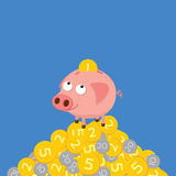 Τράπεζα Piggy που συλλέγει τα νομίσματα χαριτωμένη απεικόνιση κιν&omicr Στοκ εικόνα με δικαίωμα ελεύθερης χρήσης