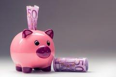Τράπεζα Piggy Ρόδινο Piggy σώζει και πεντακόσια ευρο- τραπεζογραμμάτια φωτογραφία που τονίζετα&i Στοκ εικόνες με δικαίωμα ελεύθερης χρήσης