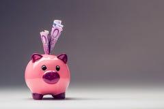 Τράπεζα Piggy Ρόδινο Piggy σώζει και πεντακόσια ευρο- τραπεζογραμμάτια φωτογραφία που τονίζετα&i Στοκ Φωτογραφία