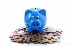 Τράπεζα Piggy σε έναν σωρό των νομισμάτων Στοκ φωτογραφίες με δικαίωμα ελεύθερης χρήσης