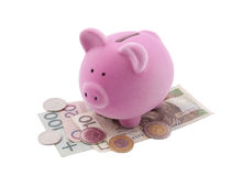 Τράπεζα Piggy στα τραπεζογραμμάτια στιλβωτικής ουσίας Στοκ φωτογραφία με δικαίωμα ελεύθερης χρήσης