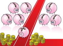 Τράπεζα Piggy στο κόκκινο χαλί Στοκ Φωτογραφίες