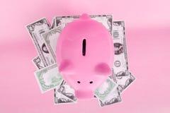 Τράπεζα Piggy στο μαλακό ρόδινο υπόβαθρο με τα τραπεζογραμμάτια Δολ ΗΠΑ Στοκ φωτογραφίες με δικαίωμα ελεύθερης χρήσης