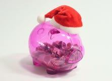 Τράπεζα Piggy Santa Στοκ Φωτογραφία