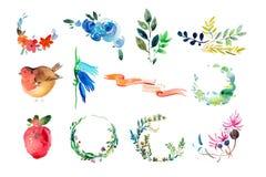 τράπεζες που σύρουν το τύλιγμα watercolor δέντρων ποταμών ανθίσματος λουλούδια, ζωγραφική στεφανιών και ακουαρελών φύλλων Στοκ Φωτογραφίες