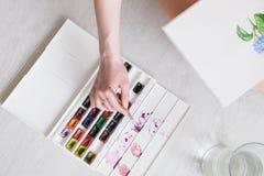 τράπεζες που σύρουν το τύλιγμα watercolor δέντρων ποταμών ανθίσματος Εργασία ζωγράφων με το σκίτσο Στοκ Εικόνες