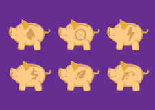 Τράπεζες Piggy με τα συμβολικά στοιχεία σχεδίου εικονιδίων διανυσματικά Στοκ φωτογραφία με δικαίωμα ελεύθερης χρήσης