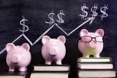 Τράπεζες Piggy με το διάγραμμα αποταμίευσης Στοκ εικόνες με δικαίωμα ελεύθερης χρήσης