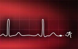 τρέξιμο ατόμων καρδιογραφ& Στοκ Εικόνες