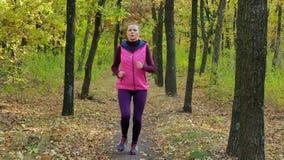 Τρέξιμο - δρομέων γυναικών στη δασική πορεία φθινοπώρου Κατάλληλη θηλυκή τρέχοντας κατάρτιση ιχνών αθλητών αθλητικής ικανότητας π φιλμ μικρού μήκους