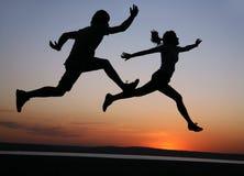 τρέξιμο ζευγών Στοκ Εικόνες