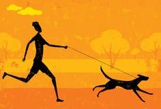 Τρέξιμο με το σκυλί Στοκ φωτογραφία με δικαίωμα ελεύθερης χρήσης