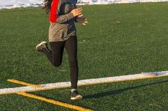 Τρέξιμο σε έναν τομέα τύρφης με το χιόνι στο υπόβαθρο στοκ εικόνα με δικαίωμα ελεύθερης χρήσης