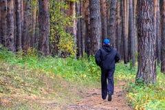 Τρέξιμο στο δασικό άτομο φθινοπώρου Στοκ Εικόνες