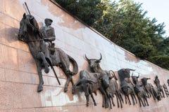 Τρέξιμο statuee ` τοίχων των ταύρων ` Plaza de Toros de Las Ventas, Μαδρίτη, Ισπανία Στοκ Εικόνα