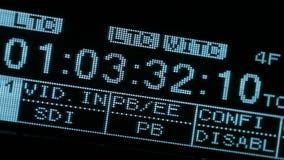 Τρέξιμο timecode στο vcr. Να αναβοσβήσει SDI σήμα. απόθεμα βίντεο