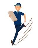 Τρέχοντας άτομο με το ταχυδρομικό κιβώτιο Αγγελιαφόρος με το δέμα Στοκ Φωτογραφία