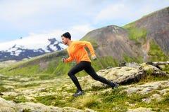 Τρέχοντας άτομο στο διαγώνιο τρέξιμο ιχνών χωρών Στοκ Εικόνες