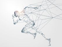 Τρέχοντας άτομο, σύνδεση δικτύων που γυρίζουν διανυσματική απεικόνιση