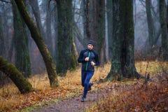 Τρέχοντας ίχνος νεαρών άνδρων στο πάρκο πτώσης Στοκ φωτογραφίες με δικαίωμα ελεύθερης χρήσης