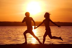 τρέχοντας ακτή Στοκ εικόνα με δικαίωμα ελεύθερης χρήσης