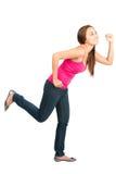 Τρέχοντας ασιατική γυναίκα που χαράζει το δευτερεύον σχεδιάγραμμα αντικειμένου στοκ φωτογραφία με δικαίωμα ελεύθερης χρήσης