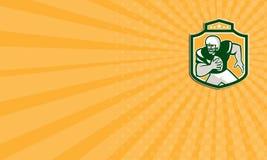 Τρέχοντας ασπίδα φορέων αμερικανικού ποδοσφαίρου QB επαγγελματικών καρτών αναδρομική Στοκ φωτογραφία με δικαίωμα ελεύθερης χρήσης