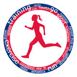 Τρέχοντας γυναίκα, λέξεις στοκ φωτογραφία με δικαίωμα ελεύθερης χρήσης