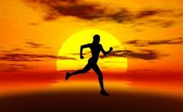 τρέχοντας γυναίκα ήλιων Στοκ φωτογραφία με δικαίωμα ελεύθερης χρήσης