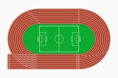 Τρέχοντας διαδρομή και ποδόσφαιρο ή αγωνιστικός χώρος ποδοσφαίρου, τοπ άποψη του αθλητικού σταδίου διάνυσμα διανυσματική απεικόνιση