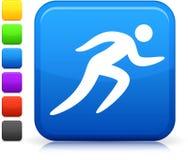 Τρέχοντας εικονίδιο στο τετραγωνικό κουμπί Διαδικτύου Στοκ Φωτογραφίες