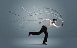 Τρέχοντας επιχειρηματίας με τη συσκευή και συρμένες τις χέρι γραμμές Στοκ εικόνες με δικαίωμα ελεύθερης χρήσης