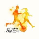 Τρέχοντας διάνυσμα ανθρώπων Watercolour διανυσματική απεικόνιση