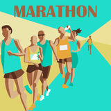 Τρέχοντας μαραθώνιος, τρέξιμο ανθρώπων, ζωηρόχρωμη αφίσα επίσης corel σύρετε το διάνυσμα απεικόνισης διανυσματική απεικόνιση
