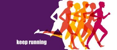Τρέχοντας μαραθώνιος, τρέξιμο ανθρώπων, ζωηρόχρωμο έμβλημα απεικόνιση αποθεμάτων