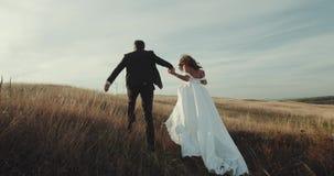 Τρέχοντας νεόνυμφος και νύφη στην καταπληκτική θέση, όμορφο τοπίο απόθεμα βίντεο