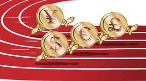 Τρέχοντας νομίσματα κινούμενων σχεδίων απεικόνιση αποθεμάτων